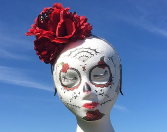 Day of the Dead Headpiece, Red Rose Flower Crown Headband Black Widow Halloween Dia  De Los Muertos Gothic Lolita Frida Kahlo Mexican