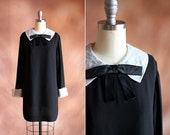 vintage 1960's black crepe mini dress with white organdy bow collar / size s - m