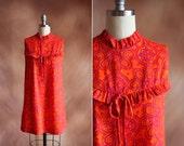 vintage 1960's orange & purple hawaiian print ruffle neck mini tent dress / size s