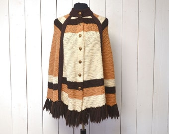 Knit Fringe Poncho 1960s Mustard Brown Cream Striped Button Up Vintage Boho Hippie Cape One Size Fits Most
