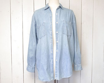 Gap Denim Chambray Shirt 1980s Vintage Long Sleeve Oxford Shirt Jacket Medium Large