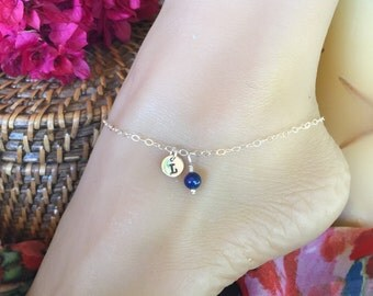 Lovely Sterling Silver custom monogrammed stamped tag anklet with colorful bead. Adjustable up to 10 1/2 inches. Ankle bracelet