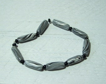 Polymer Beads Jewelry Supplies, Grey White and Black Swirled Polymer Beads, Hand Crafted