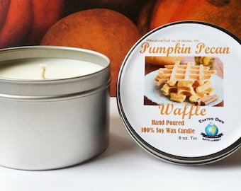 8 oz Pumpkin Pecan Waffle 100% Soy Candle. Hand Poured, Highly Fragranced, Long Burn. Eco Friendly, Reusable Tin. Vegan