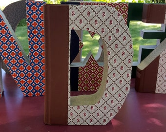 Upcycled Book Letter Decor - burgundy and brown D