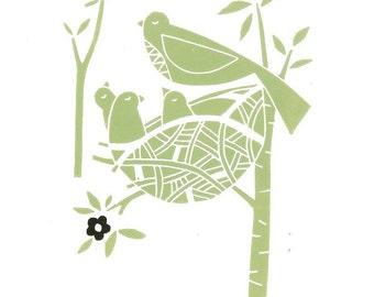 Birds Nest Linocut - Original Lino Print, Printmaking - Green & White and Black Scandinavian Style Lino Block Print - Signed