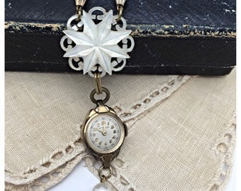 Watch Necklace Vintage Assemblage Necklace Vintage Necklace Repurpose Necklace mother of pearl necklace