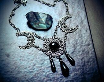 Darkmoon, gothic necklace, pagan jewelry, wicca, cresent moon necklace, goth, fantasy jewelry, moon jewelry, Victorian goth, filigree