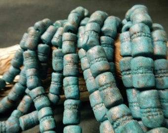 18 Hand made stoneware clay tube beads with a …cobalt blue, deep turquoise, and copper patina…..Rustic, Primitive, earthy. #2991.