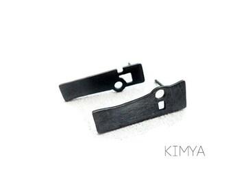 Asymmetric Earrings - Oxidized Silver Stud - Art Modern Earrings - Contemporary Earring - Wearable Art Stud - Sculpture Earrings - Chillida