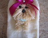 Dog Sweater Yorkie  Cream with Hot Pink  By Nina's Couture Closet