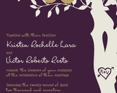 RUSH Love Bird Wedding Invitations - Eggplant and Gold Tree Wedding Invitation - Love birds in a tree - Custom Listing for Kristen Lara