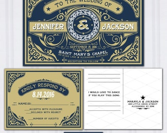 Navy Blue and Gold Wedding Invites, Letterpress Look Wedding Invitations, Retro Typography Wedding Invitation, Celtic Wedding Stationery