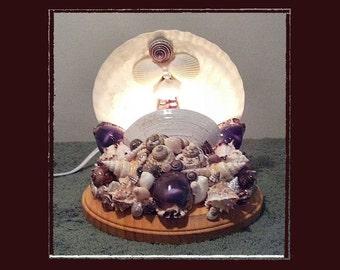 """Sea Shell Accent Light (6"""" White Scallop) - Handmade Coastal Decor"""