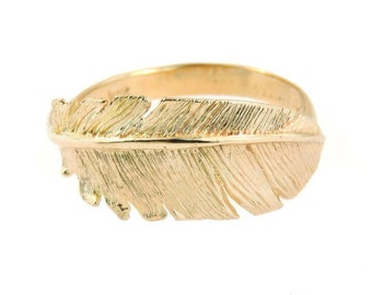 14k Yellow Gold Feather Ring