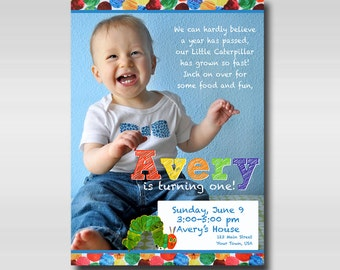 5x7 The Very Hungry Caterpillar Birthday Party Invitation PRINTABLE | Eric Carle First Birthday Invitation
