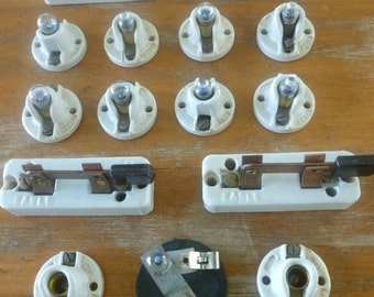 Vintage ceramic electrcal components, Lot of 15, knife switches, ceramic fixtures, collectible electrical, steampunk