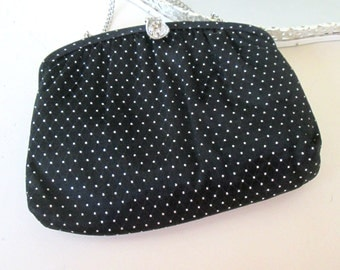 Black Satin Silver Rhinestone Evening Bag // 1950 1960s Formal Purse Clutch Chain Strap