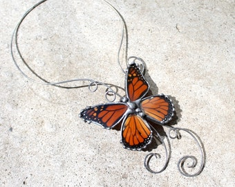 Monarch Butterfly Choker, Recycled Monarch Wings, Stainless Steel Nature Necklace