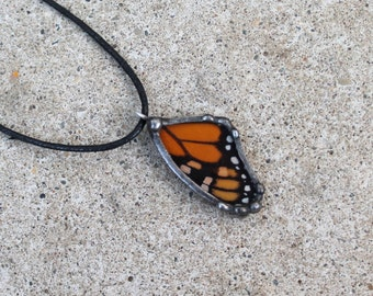 Children's Monarch Butterfly Pendant, Petite Real Butterfly Jewelry, Natural History Jewelry