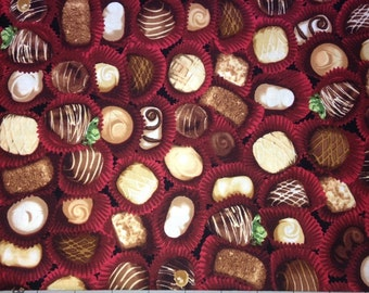 The Sweet Shop, Red, from Robert Kaufman, Chocolate Candies, 1/2 Yard