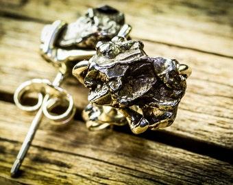 Meteorite Earrings, silver earrings, meteorite post earrings, meteorite posts, sterling silver earrings, silver earrings, meteorite, jewelry