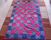 Denim and Pink/Fuchia Cotton Quilt Throw