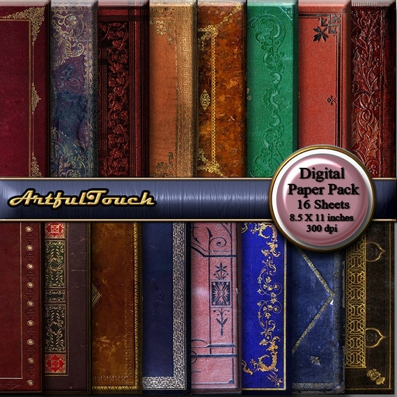 Decorative Book Cover Paper : Digital paper antique book covers decorative old