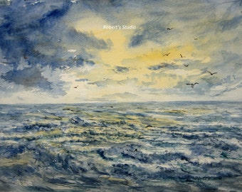 Watercolor Seascape, archival print, landscape painting, ocean watercolor, ocean painting, beach, nautical art, sea gulls, watercolor art.