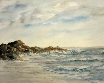 Seascape, Print Of Original Watercolor, seascape painting, landscape watercolor, coastline painting, ocean art, shoreline watercolor.