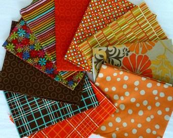 10 Fat Quarters, Mixed Bundle of Designer Fabrics - Brown, Cinnamon, Orange, Red