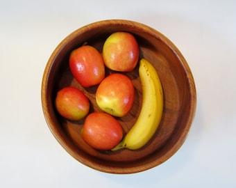 Teak Bowl Serving Size Fruit Bowl Vintage 80s