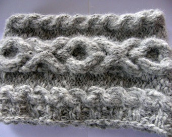 Neckwarmer/XOXO cowl / cable  scarf  - Hand knit chunky gray soft alpaca cowl