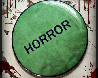 """horror vhs label - Large 2 1/4"""" Button, or Bottle Opener Key chain"""