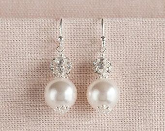 Pearl bridal Earrings, Bridesmaids jewelry, Bridal jewelry, Swarovski pearls crystals, Sarah Earrings,