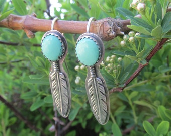 Sterling Feather and Kingman Turquoise dangle earrings