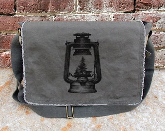 Cotton Canvas Messenger Bag - Lantern and Forest - Screen Printed Messenger Bag