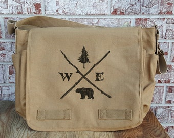 Messenger Bag - Forest Compass - Vintage Unwashed Canvas Messenger Bag