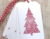 Christmas Gift Tags, Holiday Gift Tags, Christmas Tree, Red Tree, Handmade Gift Tags, Set of 6 tags