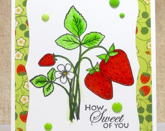 Sweet Thank You Card- Strawberry Card- How Sweet of You- Friend Thank You- Thank You Note