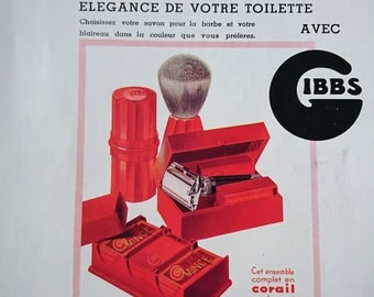 Original Vintage Art Deco French Ad Gibbs Shaving kit  1937