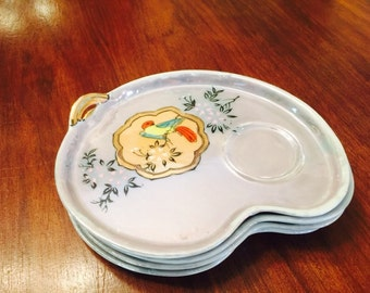 Vintage Lustreware Snack Plates Luncheon Tea Single Serving Bird Motif Chinoiserie Kidney Shaped Midcentury MCM Japan 1950s