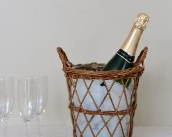 Vintage Wicker and Glass Ice Bucket, Wine/Champagne Bucket
