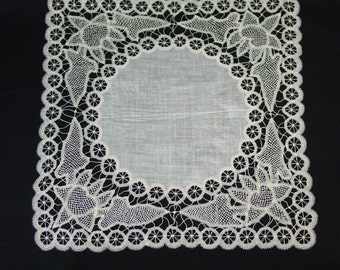 Antique Bridal, Wedding Hanky, Handkerchief Exquisite Hand Made Lace, Ecru, 12""