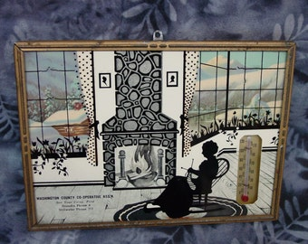 Fun Vintage 1940's Silhouette, Advertising, Thermometer, Lady Knitting by Fireplace