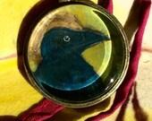 Raven Totem - Original Art - Bead / Charm / Pendant - Glass Tile - Cathy DeLeree