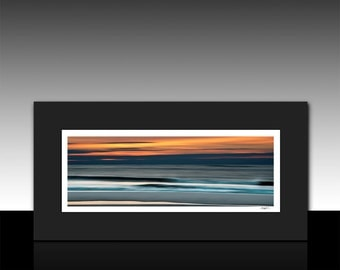abstract ocean art panoramic matted print blue orange housewarming gift ready for 10x20 frame