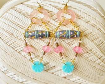 Pastel Dangle Earrings, Long, Hand Painted Beads, Blue Pink Gold, Geometric, Long beaded earrings