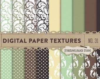Damask & Dots Digital Scrapbook Paper Pack  No 31 - 12x12