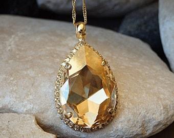 Wedding champagne pendant. Light Silk Swarovski Necklace . Bridesmaid champagne necklace gift. Swarovski champagne large pendant. Women gift